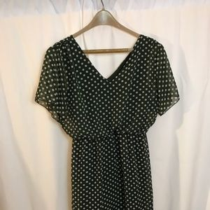 Enfocus gray/green polka dot dress